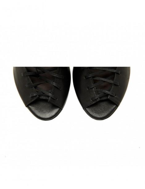 Botine dama decupate Street Style Black Piele Naturala - The5thelement.ro