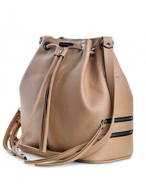 Geanta dama Piele Naturala Zip Bucket Bag Nude - The5thelement.ro