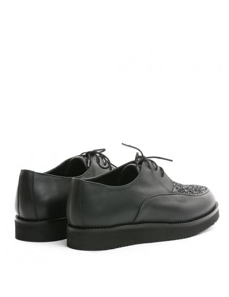 Pantofi dama Sport Black GLITTER din Piele Naturala - The5thelement.ro