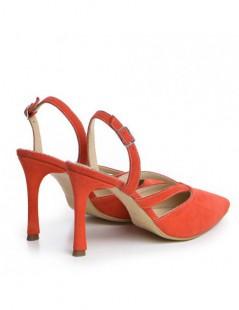 Pantofi Stiletto Piele Naturala Rosu Corai Sasha - The5thelement.ro