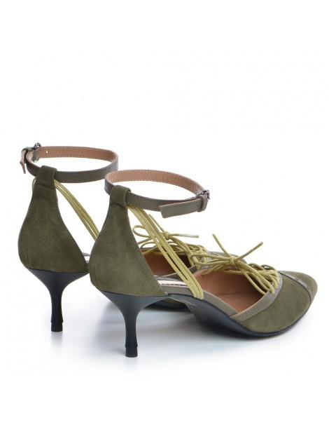 Pantofi Stiletto Piele Naturala Khaki Rihanna - The5thelement.ro