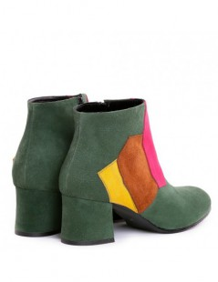 Ghete Piele Naturala Dama Electric Green Ankle Boots - The5thelement.ro