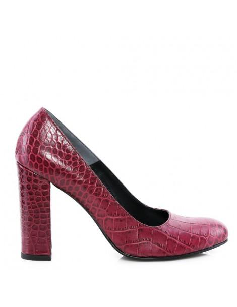 Pantofi dama Burgundy Croc...