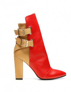 Ghete dama Piele Naturala Rock the City Nude Red - The5thelement.ro