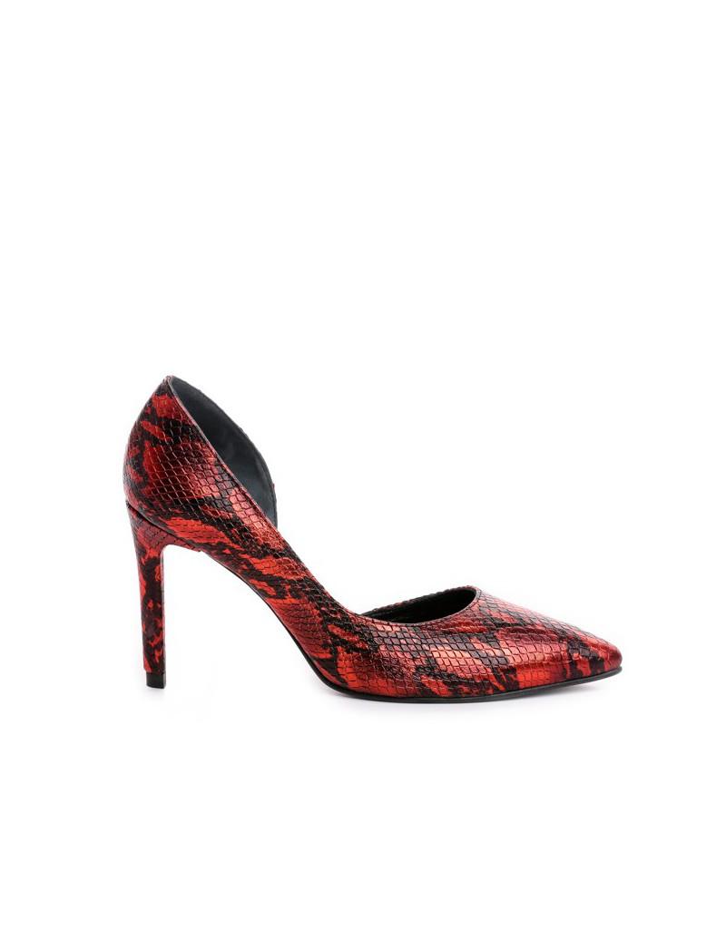 Pantofi Stiletto Piele Naturala Rosu Snake Cut - The5thelement.ro
