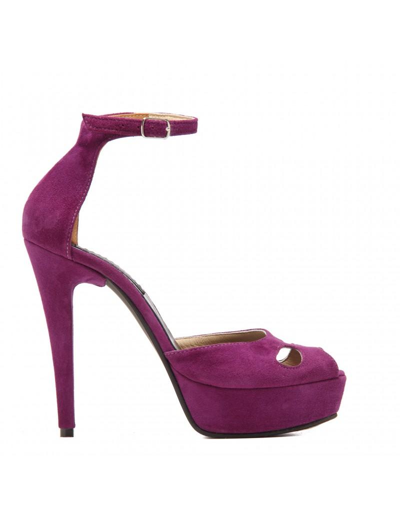 Sandale dama The 70's Purple Velvet Piele Naturala - The5thelement.ro