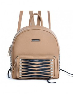 Rucsac dama Piele Naturala Lace-up Nude - The5thelement.ro