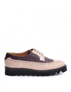 Pantofi dama Oxford Nude  MARSALA din Piele Naturala - The5thelement.ro