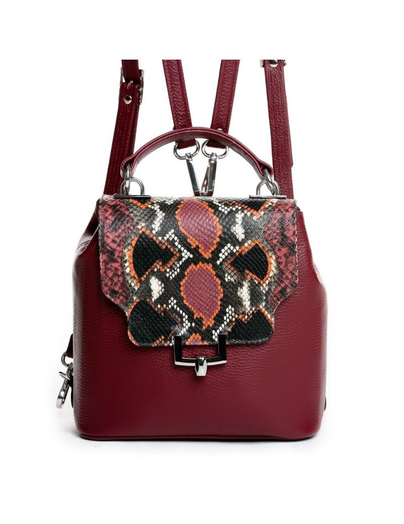 Geanta Dama Piele Naturala Minimal Backpack Burgundy - The5thelement.ro