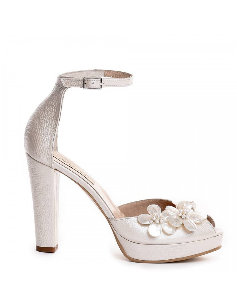 Sandale dama The 70's Ivoire Flowers Piele Naturala - The5thelement.ro