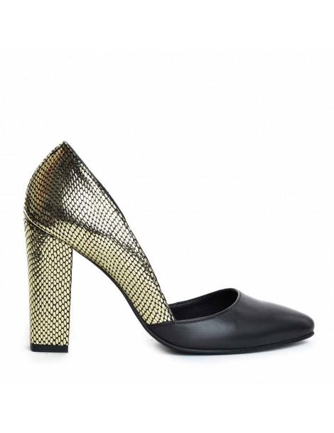 Pantofi dama Auriu Block...