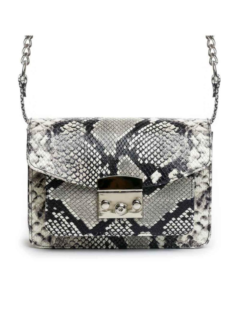 Geanta Piele Naturala Dama Urban Bag Gri Snake - The5thelement.ro