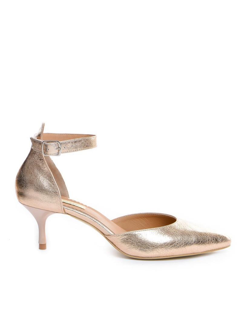 Pantofi Stiletto Piele Naturala Auriu Clara - The5thelement.ro