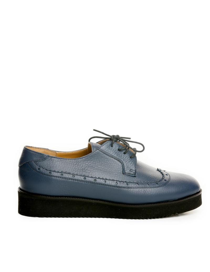 Pantofi dama Oxford Bleumarin BIZONAT din Piele Naturala - The5thelement.ro