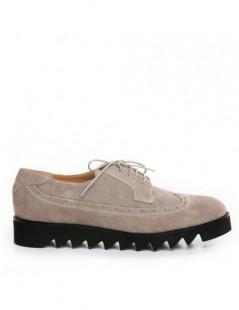 Pantofi dama Oxford Grej din Piele Naturala - The5thelement.ro