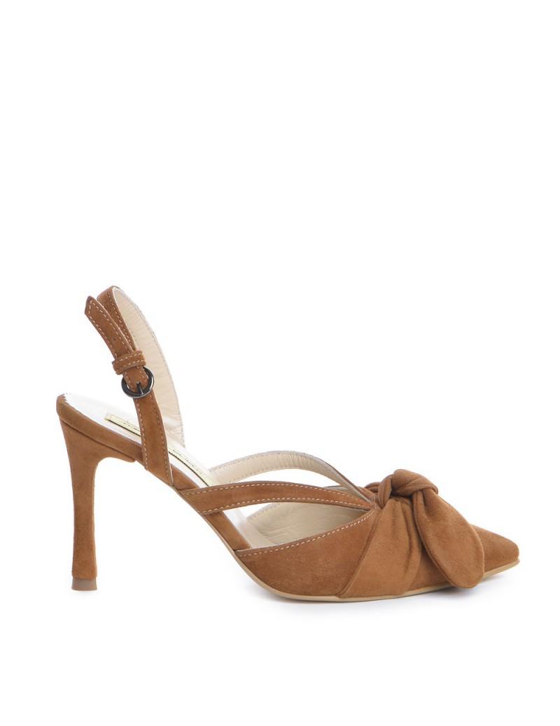 Pantofi Stiletto Piele Naturala camel Sasha - The5thelement.ro