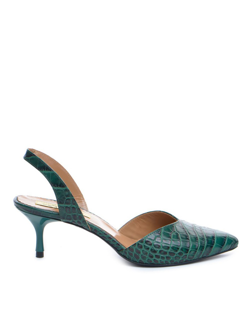 Pantofi Stiletto Piele Naturala Verde Croco Ellie - The5thelement.ro