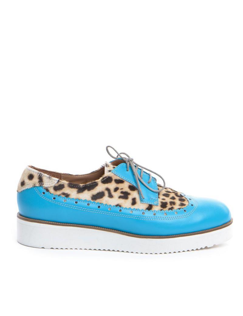 Pantofi dama Oxford Bleu Animal Print din Piele Naturala - The5thelement.ro