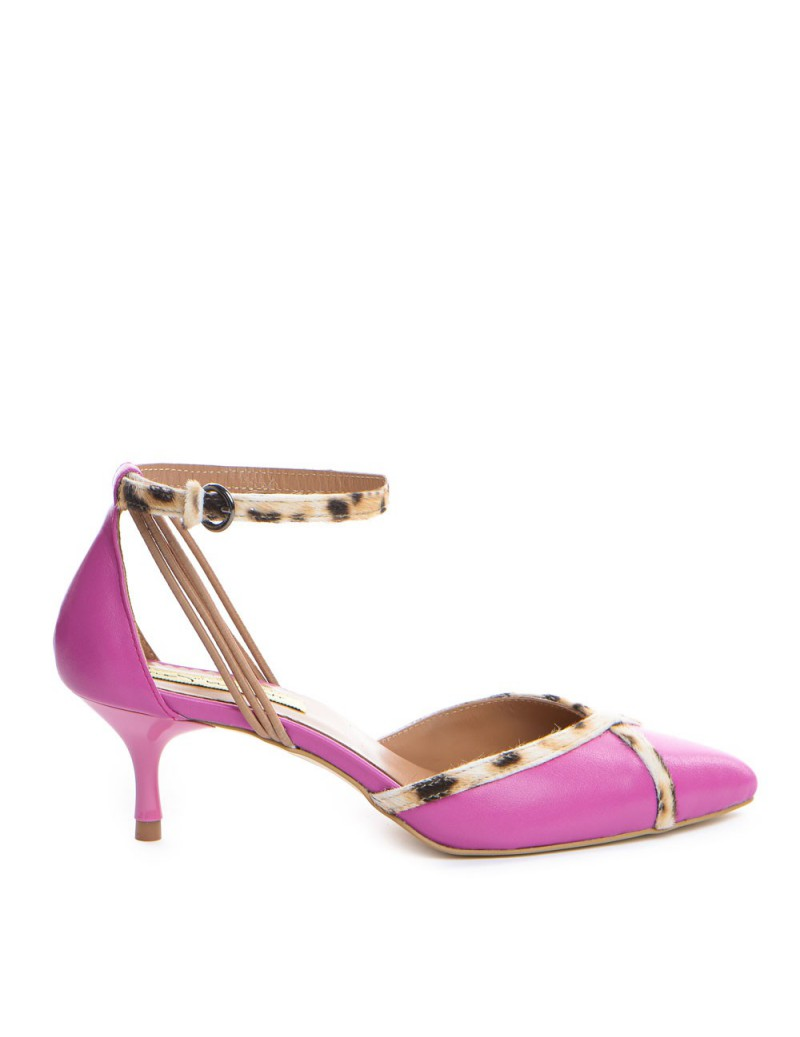 Pantofi Stiletto Piele Naturala Roz Leopard Rihanna - The5thelement.ro