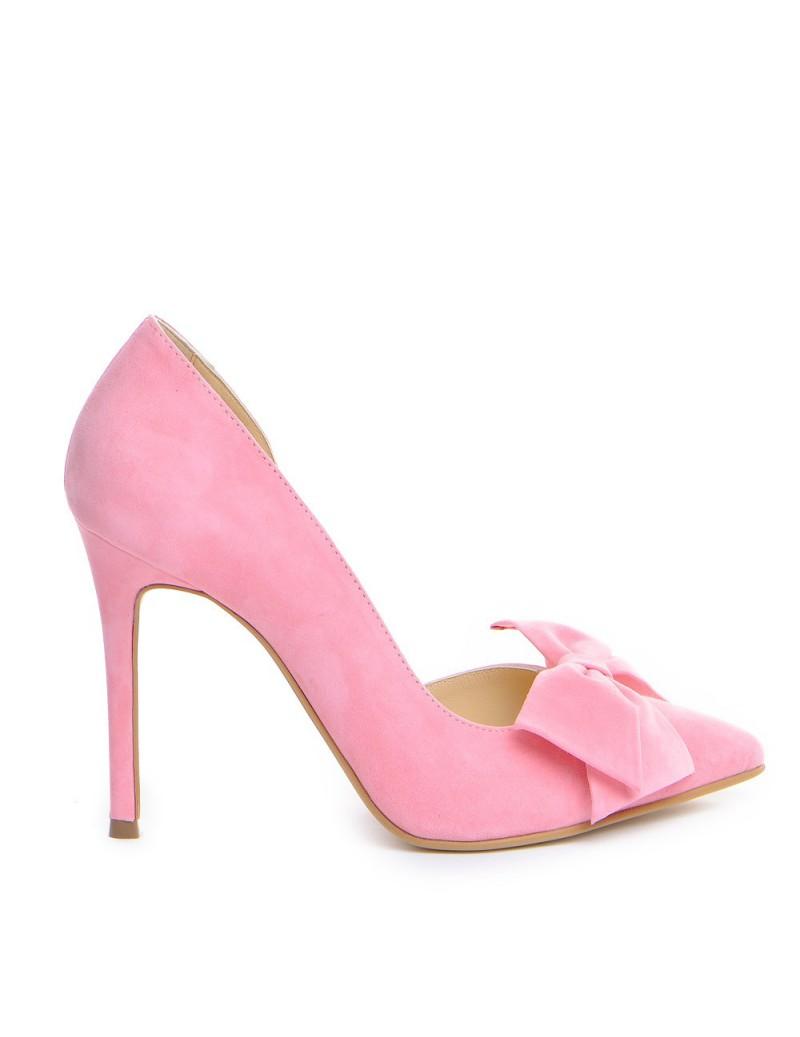 Pantofi Stiletto Piele Naturala Roz Bow Cut - The5thelement.ro