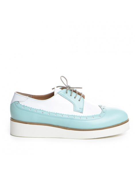 Pantofi dama Oxford Alb din...
