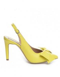 Pantofi dama Piele Naturala Galben Bow - The5thelement.ro