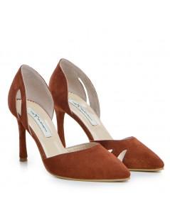 Pantofi Stiletto Piele Naturala Caramiziu Zaira - The5thelement.ro