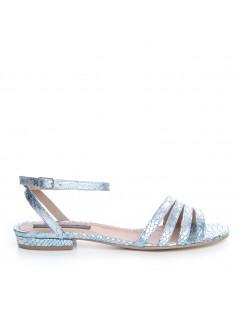 Sandale dama Piele Naturala Argintiu Ava Flat - The5thelement.ro