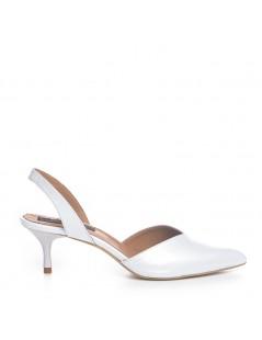 Pantofi Stiletto Piele Naturala Alb Sidefat Ellie - The5thelement.ro