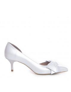 Pantofi Stiletto Piele Naturala Alb Sidefat Bow Cut - The5thelement.ro