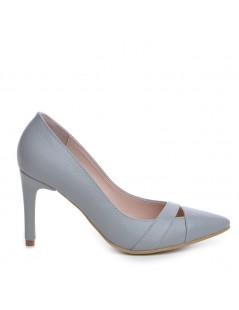 Pantofi Stiletto Piele Naturala Gri Pin-Up - The5thelement.ro