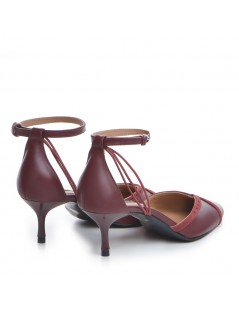 Pantofi Stiletto Piele Naturala Visiniu Rihanna - The5thelement.ro