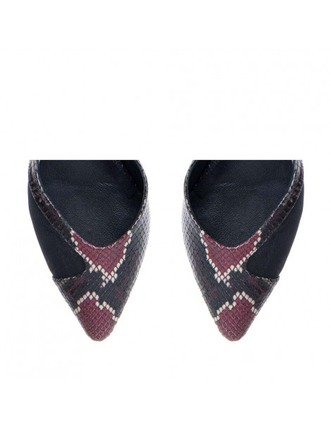 Pantofi Stiletto Piele Naturala Negru Print Mia - The5thelement.ro