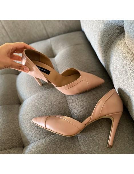 Pantofi Stiletto Piele Naturala Nude Somon Mia - The5thelement.ro