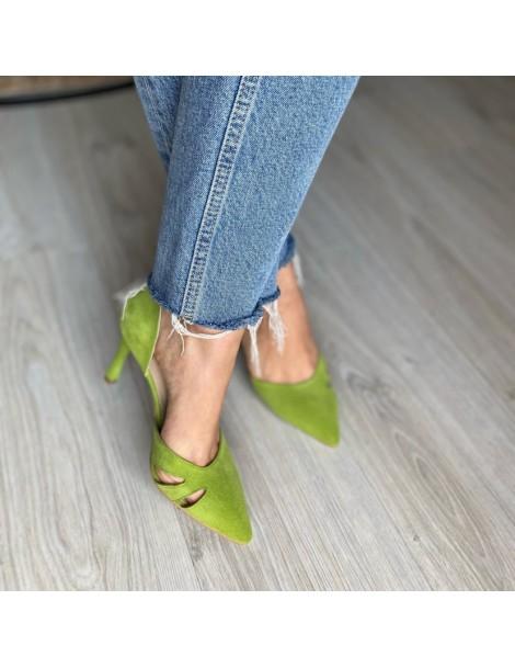Pantofi Stiletto Piele Naturala Verde lime Zaira - The5thelement.ro