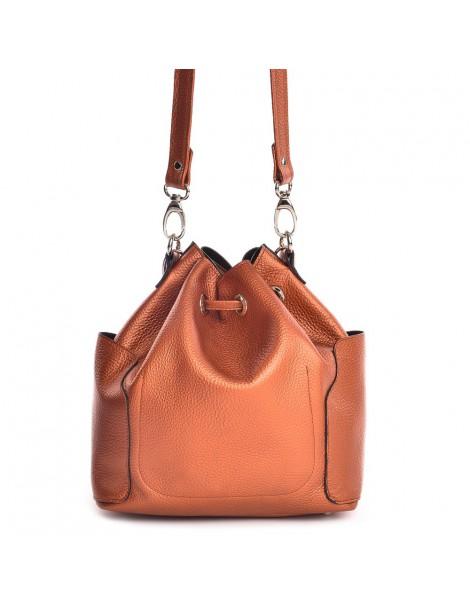 Geanta Dama Piele Naturala Summer Bucket Bag Brick - The5thelement.ro