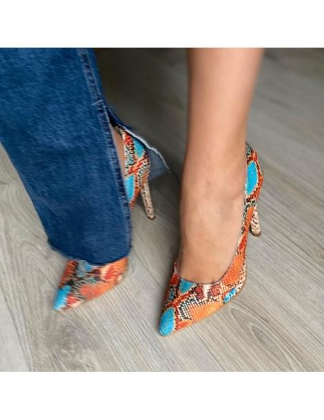 Pantofi Stiletto Piele Naturala Turcoaz Portocaliu - The5thelement.ro