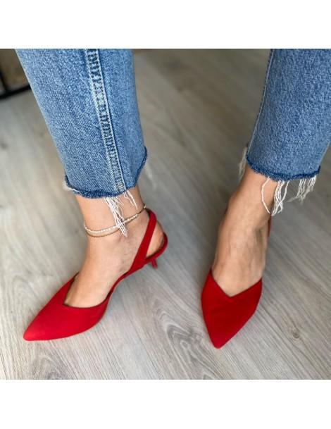 Pantofi Stiletto Piele Naturala Rosu Ellie - The5thelement.ro