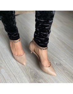 Pantofi Stiletto Piele Naturala Nude Chain Clara - The5thelement.ro