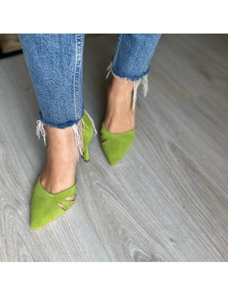 Pantofi Stiletto Piele Naturala Roz Zaira - The5thelement.ro