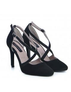 Pantofi Stiletto Piele Naturala Negru Valentina - The5thelement.ro