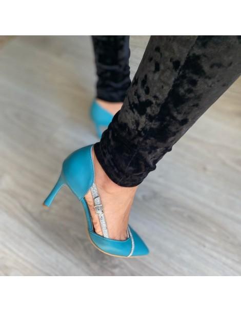 Pantofi Stiletto Piele Naturala Turcoaz Carrie - The5thelement.ro