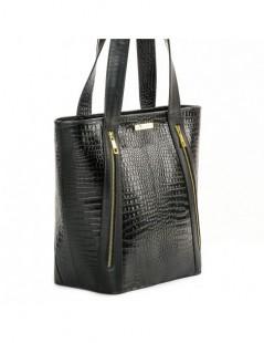 Geanta dama Piele Naturala 2 Zipper Black Croco - The5thelement.ro