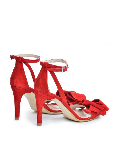 Sandale dama Simple Red Bow Piele Naturala - The5thelement.ro