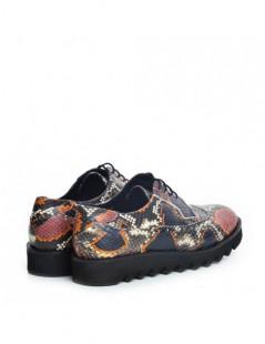 Pantofi dama Oxford visiniu Snake din Piele Naturala - The5thelement.ro