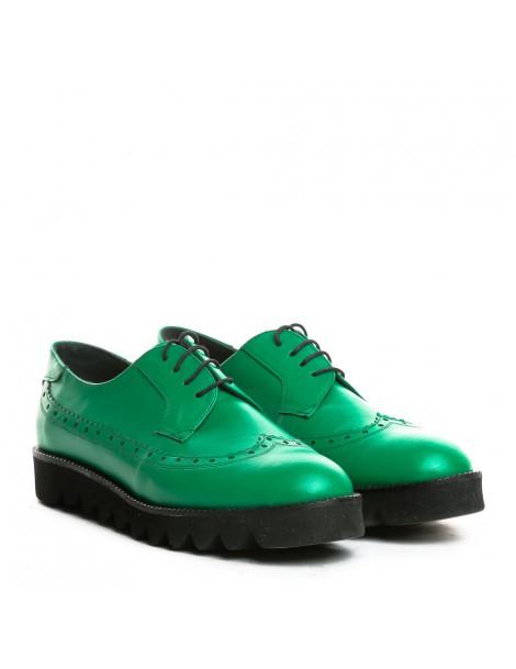 Pantofi dama Oxford Green din Piele Naturala - The5thelement.ro