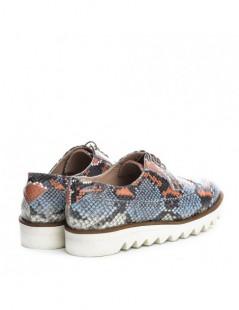 Pantofi dama Oxford Orange Snake din Piele Naturala - The5thelement.ro