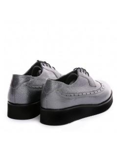Pantofi dama Oxford Argintiu din Piele Naturala - The5thelement.ro