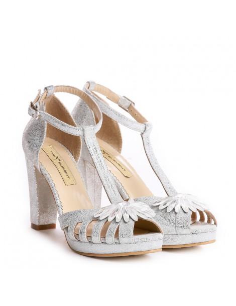 Sandale dama Rendez Vous Silver Sparkle Piele Naturala - The5thelement.ro