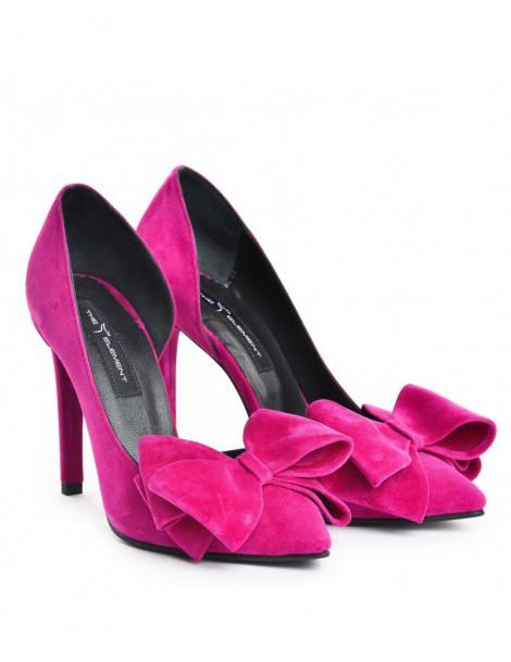 Pantofi Stiletto Piele Naturala Magenta Cut Bow - The5thelement.ro